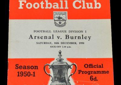 Arsenal v Burnley 16.12.1950