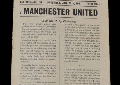 Man Utd v Charlton 20.01.1951