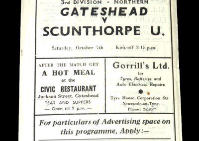 Gateshead v Scunthorpe 07.10.1950