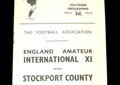 England Amatuer 11 v Stockport 25.11.1950