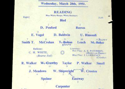 Reading Reserves v Watford Reserves 28.03.1951