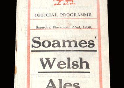 Wales v England 22.11.1930