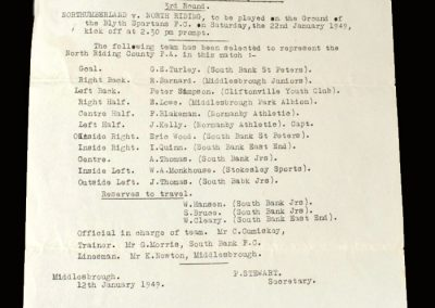 Northumberland v North Riding 12.01.1949 (Letter & team selection)
