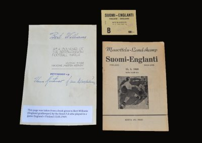 Finland v England B 15.05.1949 (Ticket and autograph)