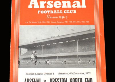 Arsenal v Preston 06.12.1952 (postponed)