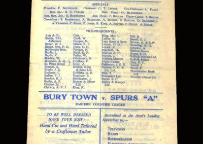 Bury Town v Spurs A 24.04.1961