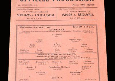 Arsenal v Dynamo 21.11.1945 3-4