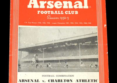 Arsenal v Charlton 17.09.1952
