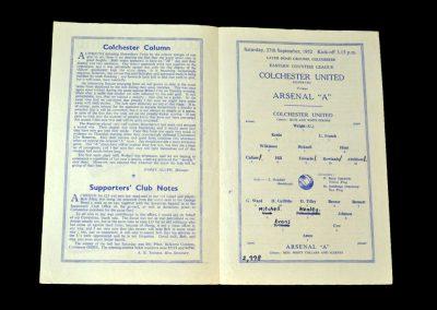 Arsenal A v Colchester 27.09.1952