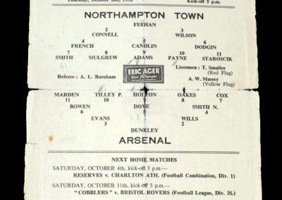 Arsenal v Northampton 02.10.1952