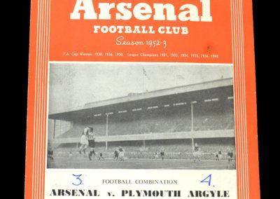 Arsenal v Plymouth 15.11.1952