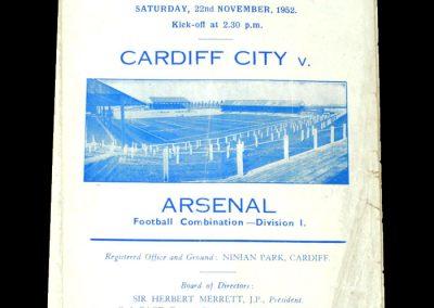 Arsenal v Cardiff 22.11.1952