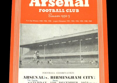 Arsenal v Birmingham 13.12.1952