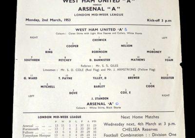 Arsenal A v West Ham A 02.03.1953
