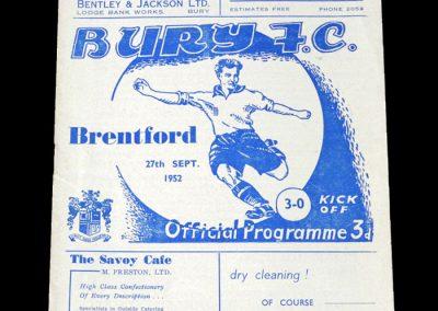 Brentford v Bury 27.09.1952
