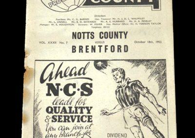 Brentford v Notts County 18.10.1952