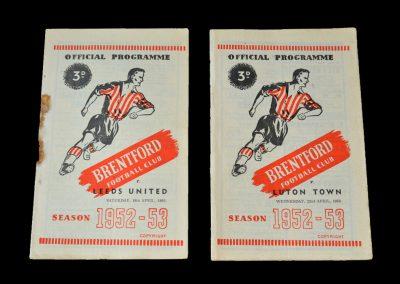 Brentford v Leeds 18.04.1953 | Brentford v Luton 22.04.1953