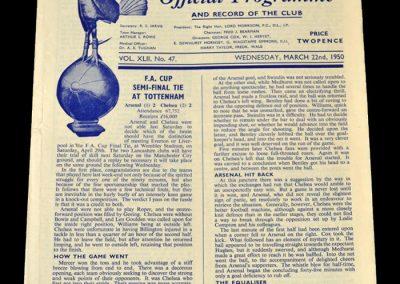 Arsenal v Chelsea 22.03.1950 - FA Cup Semi Final Replay