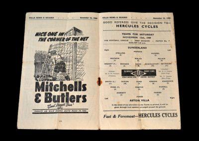 Aston Villa v Sunderland 12.11.1949