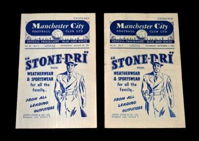 Man City v Huddersfield 29.08.1951   Man City v Aston Villa 01.09.1951