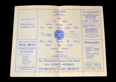 Man City v Burnley 20.10.1951