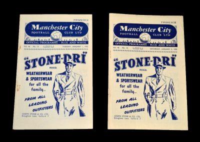 Man City v Portsmouth 01.01.1952   Man City v Derby 05.01.1952