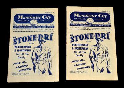 Man City v Hibs 08.03.1952   Man City v Burnley 12.03.1952
