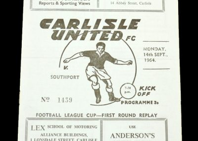 Carlisle v Southport 14.09.1964 | League Cup 1st Round Replay