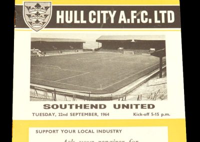 Hull v Southend 22.09.1964 | League Cup 2nd Round