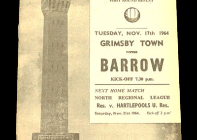 Grimsby v Barrow 17.11.1964 | League cup 1st round
