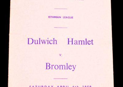 Dulwich Hamlet V Bromley 04.04.1959