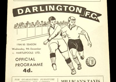 Darlington v Hartlepools 09.12.1964 | League Cup 2nd Round