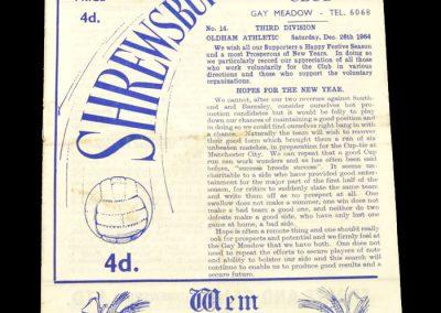 Shrewsbury v Oldham 26.12.1964