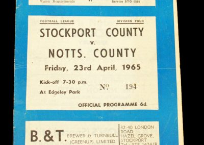 Stockport County v Notts County 23.04.1965