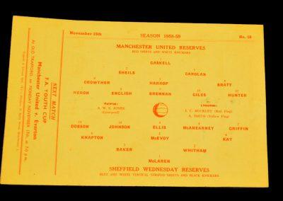 Sheffield Wednesday Reserves v Manchester United 15.11.1958