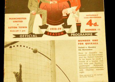 Manchester United v Luton Town 22.11.1958