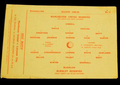 Burnley Reserves v Manchester United Reserves 29.11.1958