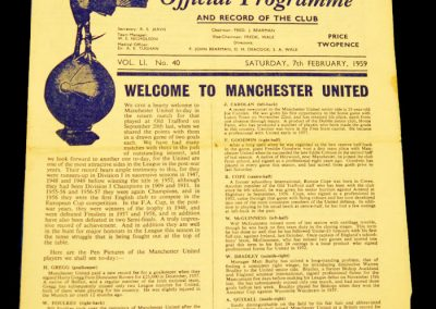 Tottenham Hotspur v Manchester United 07.02.1959