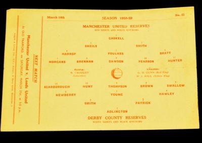Derby County Reserves v Manchester United Reserves 14.03.1959