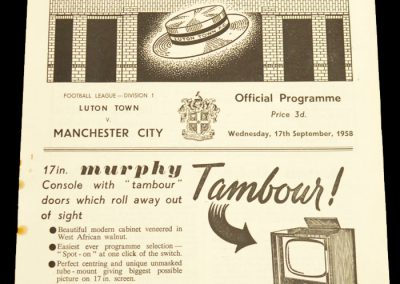 Luton Town v Manchester City 17.09.1958