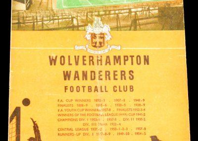 Wolverhampton Wanderers v Manchester City 11.10.1958