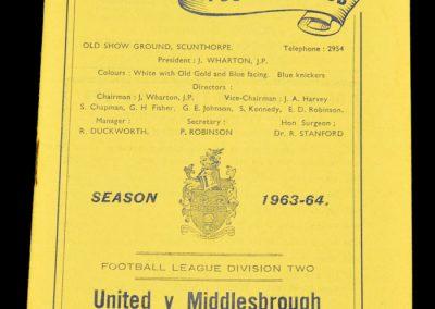 Scunthorpe United v Middlesbrough 19.10.1963