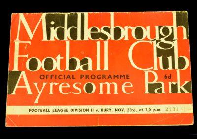 Middlesbrough v Bury 23.11.1963