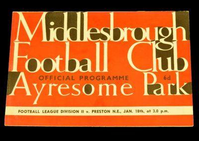 Middlesbrough v Preston North End 18.01.1964