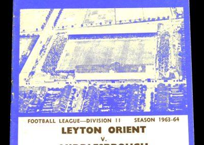 Leyton Orient v Middlesbrough 01.02.1964