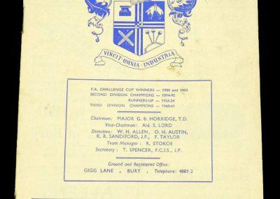 Bury FC v Middlesbrough 04.04.1964