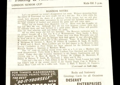 Tooting v Hounslow 23.11.1963