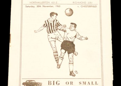 Darlington FC v Chesterfield 30.11.1963