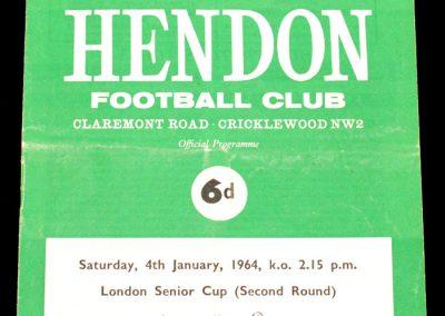 Hendon v Corinthians 04.01.1964