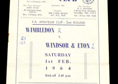 Wimbledon v Windsor 01.02.1964 | FA Amateur Cup 2nd Round